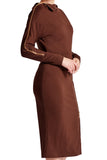 Side view of model wearing asymmetric brown knit Ponte long sleeve body con midi dress with exposed gold zippers, and thigh high skirt slit.