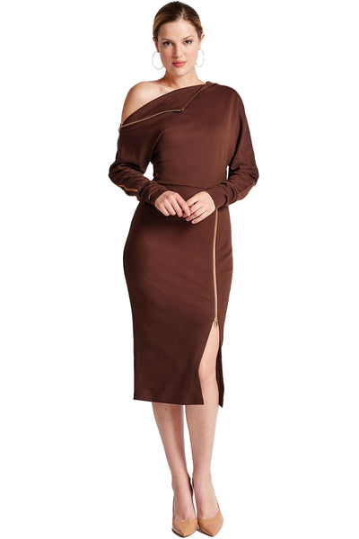 Model wearing asymmetric brown knit Ponte long sleeve body con midi dress with exposed gold zippers, and thigh high skirt slit.