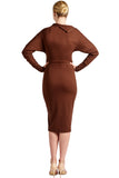 Back view of model wearing asymmetric brown knit Ponte long sleeve body con midi dress with exposed gold zippers, and thigh high skirt slit.