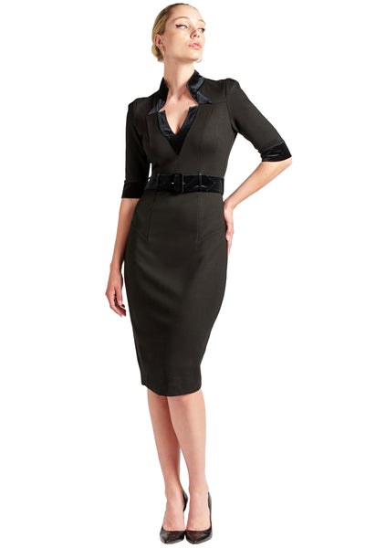 Nicola Sheath Dress - Elbow sleeve, notch neck Ponte dress with contrast velvet bands and belt
