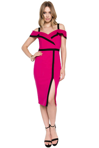 Model wearing off the shoulder berry/black color-block knit Ponte midi dress, with notch lapel, and thigh high slit.
