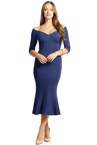 Model wearing navy knit Ponte midi body con dress, with off the shoulder sweetheart neckline, 3/4 sleeves & mermaid hem.