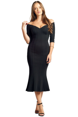 Model wearing little black knit Ponte midi body con dress, with off the shoulder sweetheart neckline, 3/4 sleeves & mermaid hem.