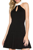 Taylor Dress - Flirty flared racer neck dress with contrast collar (black/white)