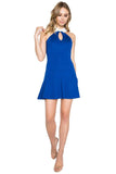 Model wearing sleeveless fit and flare blue knit Ponte dress with racer neck, keyhole & contrast white collar.