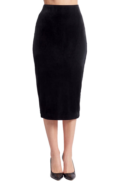 Model wearing black knit stretch velvet body-con midi pencil skirt.