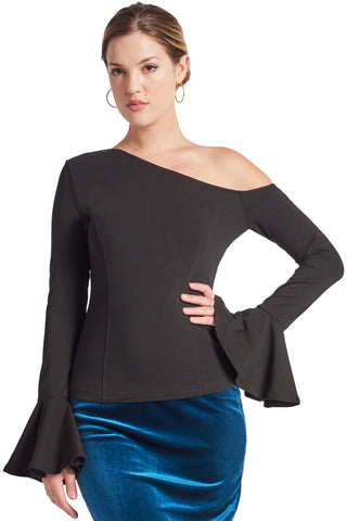 Model wearing long sleeve knit black, one shoulder cut-out asymmetric bell sleeve top.