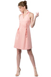 Model wearing sleeveless pink short fit and flare wing tip collar dress with corset lace up ties at front waist.