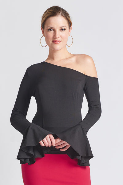 Tova Top - Asymmetric bell sleeve top - Simona Maghen