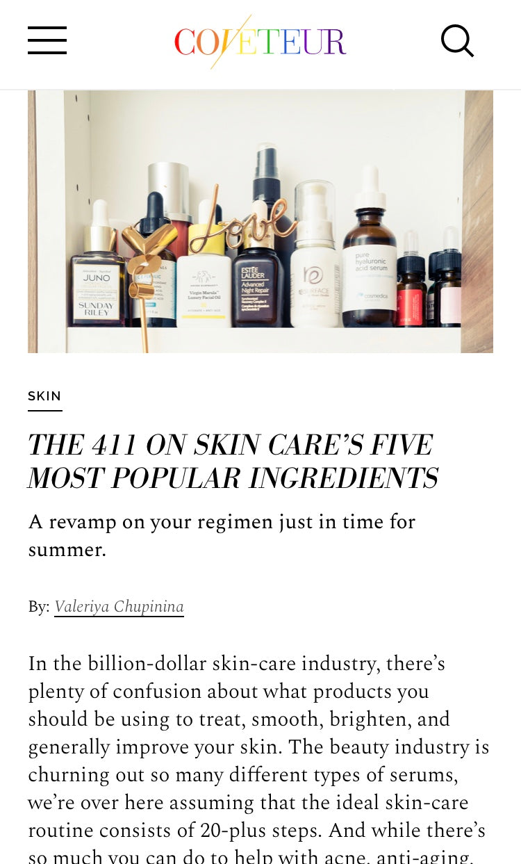 The 411 On Skin Care's' Five Most Popular Ingredients