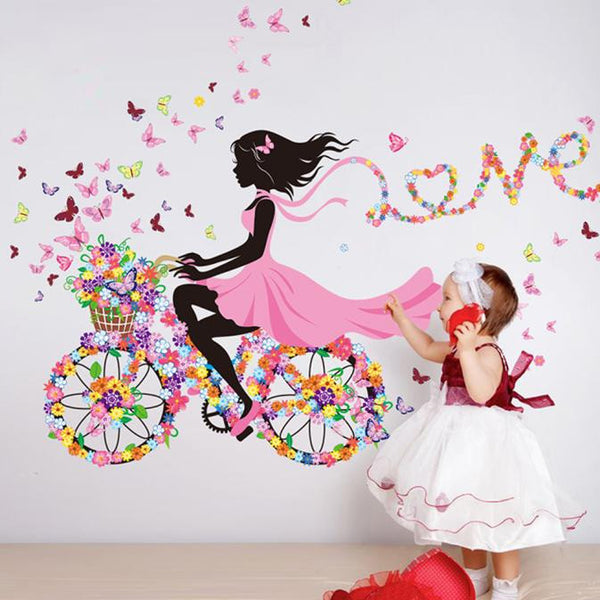 Butterfly Girl On Flower Bike   Wall Sticker
