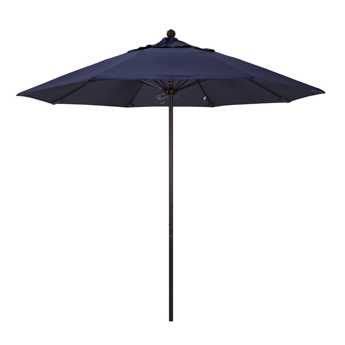 "California Umbrella California Umbrella Venture 9"" Bronze Market Umbrella in Navy Fabric Navy Olefin ALTO908117-SA39 8.48E+11"