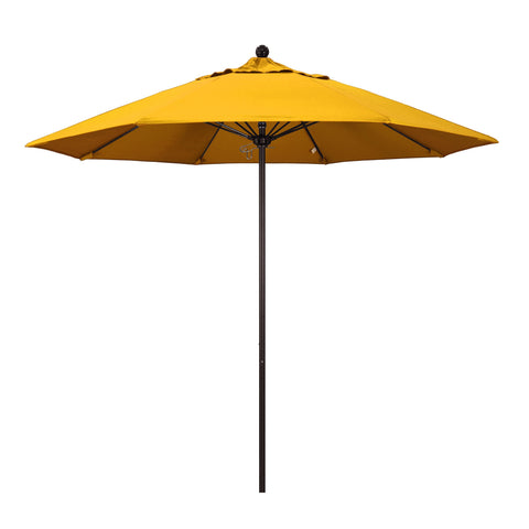 "California Umbrella California Umbrella Venture 9"" Bronze Market Umbrella in Yellow Fabric Yellow Olefin ALTO908117-SA57 8.48E+11"