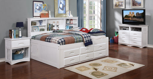Donco Donco Full Bookcase Daybed With 6 Drawer Under Bed Storage in White Finish Bed 0223-FW_0293-W 812614029472