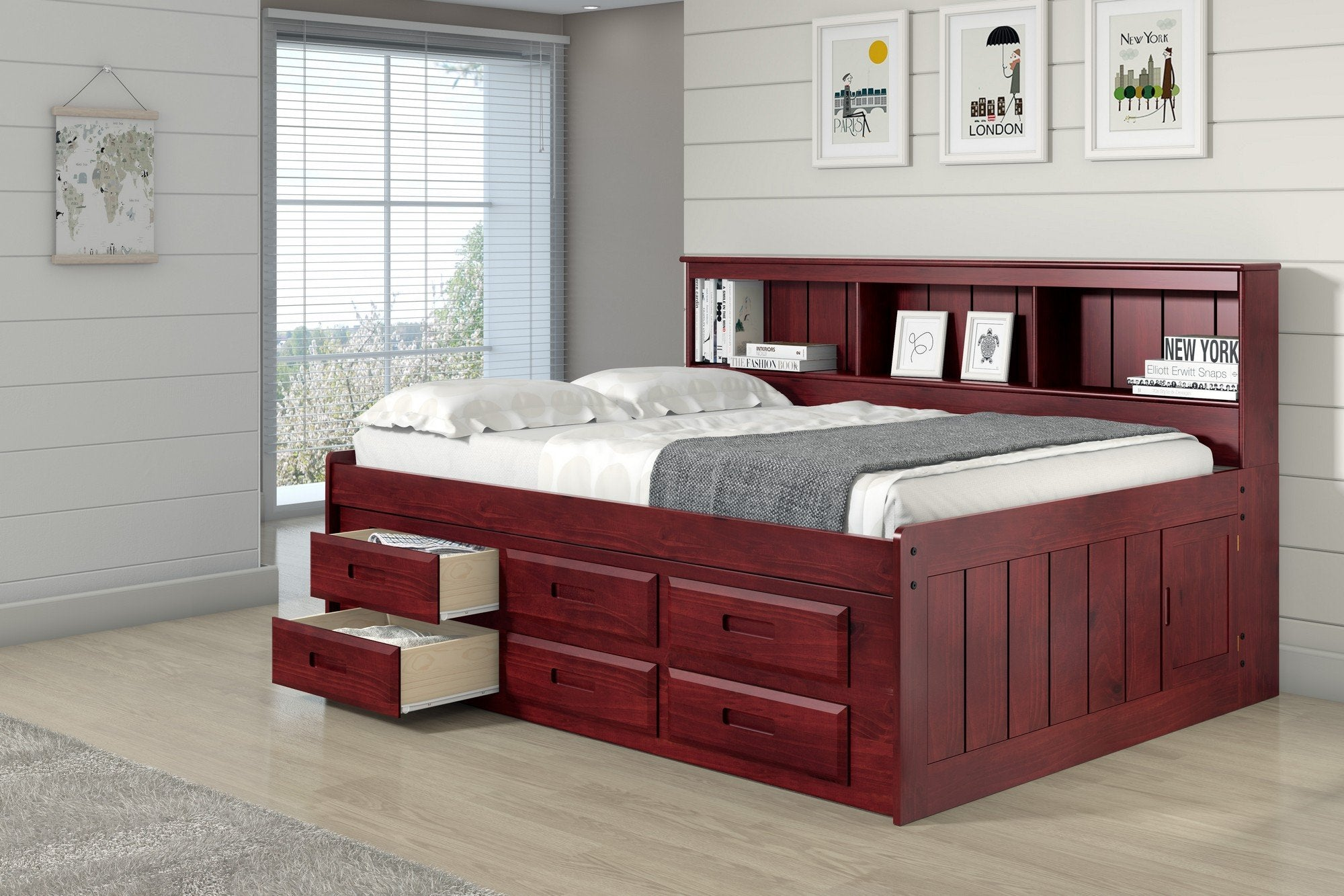 Donco Full Daybed Bookcase Captains Bed With 6 Drawer Under Bed Storag The Porch Swing Store
