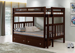 Donco Donco Full/Full Mission Bunk Bed With Dual Underbed Drawers Dark Cappuccino Finish Bunk Bed 225-FFCP_505-CP 812614028215