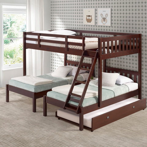 Donco Donco Full Over Double Twin Bed Loft Bunk in Dark Cappuccino Finish W/Twin Trundle Bed Bunk Bed 2332-FTTCP_503-CP 810007231617