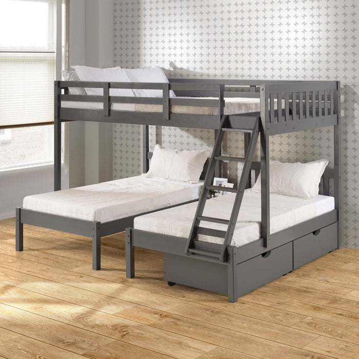 Donco Donco Full Over Double Twin Bed Loft Bunk in Dark Grey Finish W/Dual Under Bed Drawers Bunk Bed 2332-FTTDG_505-DG 810007231594