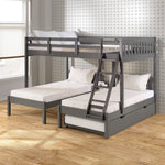 Donco Donco Full Over Double Twin Bed Loft Bunk in Dark Grey Finish W/Twin Trundle Bed Bunk Bed 2332-FTTDG_503-DG 810007231600