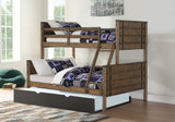 Donco Donco Twin/Full Bunk Bed in Burnished Amber With Twin Trundle Bed in Low Sheen Black Finish Bunk Bed 0418-TFBA_503-BK 812614029816