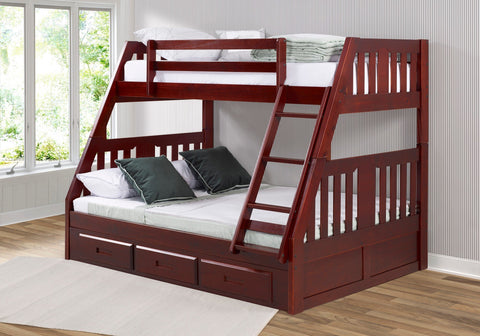 Donco Donco Twin/Full Mission Bunkbed With 3 Drawer Bunk Pedestal in Merlot Finish Bunk Bed 1218-TFM_2892-M 812614029137