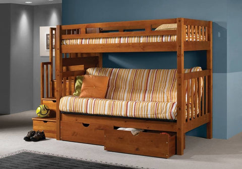 Donco Donco Twin/futon Tall Mission Stairway Bunk Bed W/ Dual Underbed Drawers Honey Finish Bunk Bed 200-TTSH/300_505-H 812614027607