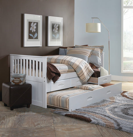 Donco Donco Twin Mission Rake Bed With 3 Drawer Storage and Twin Trundle Bed in White Finish Bed 0235-TW_0292-EKT_0290-TW 812614029403