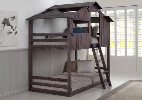 Donco Donco Twin/Twin Fort Bunkbed Rustic Brown Bunk Bed 1607-TTRB 812614029014