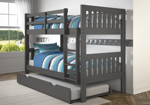 Donco Donco Twin/Twin Mission Bunk Bed W/Trundle Bed in Dark Grey Finish Bunk Bed 1010-3TTDG_503-DG 812614026785