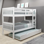 Donco Donco Twin/Twin Mission Bunk Bed W/Twin Trundle Bed in White Finish Bunk Bed 1010-3TTW_503-W 810007231426