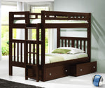 Donco Donco Twin/Twin Mission Bunk Bed With Dual Underbed Drawers Dark Cappuccino Finish Bunk Bed 215-TTCP_505-CP 812614028161