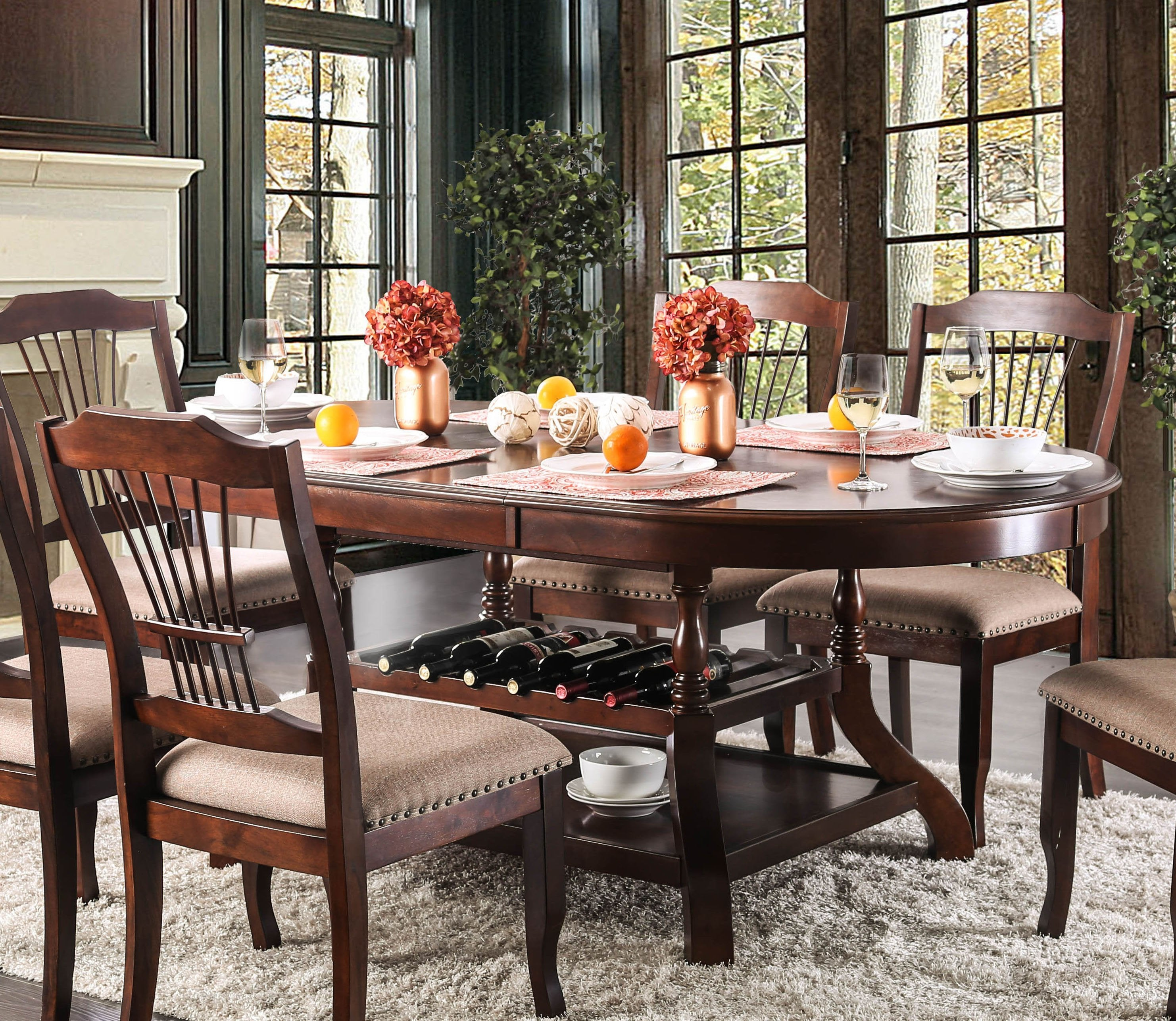 Gemini Transitional Dining Table With 18 Leaf By Furniture Of America The Porch Swing Store