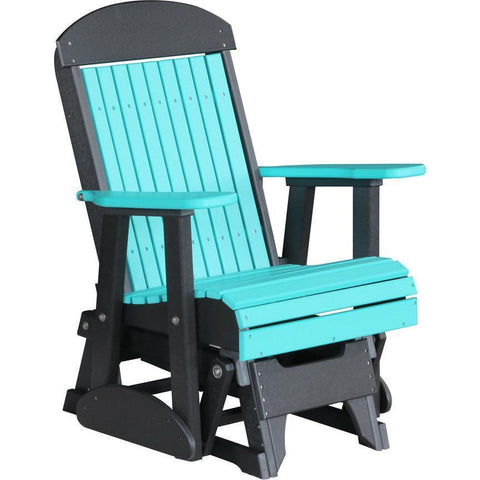 LuxCraft LuxCraft 2 foot Classic Highback Recycled Plastic Glider Chair Aruba Blue on Black Glider Chair 2CPGABB