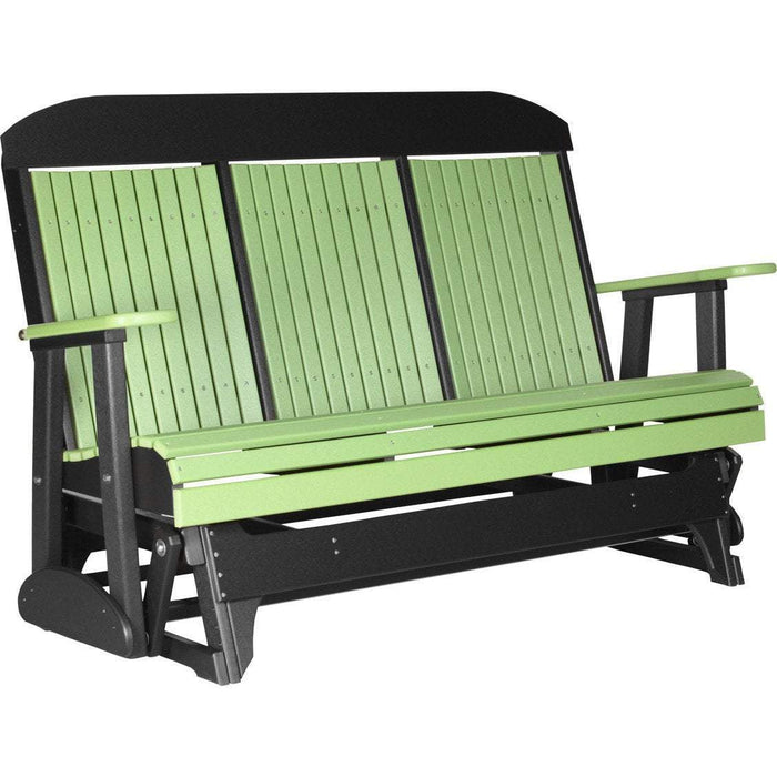 LuxCraft LuxCraft 5 ft. Recycled Plastic Highback Outdoor Glider Lime Green On Black Highback Glider 5CPGLGB