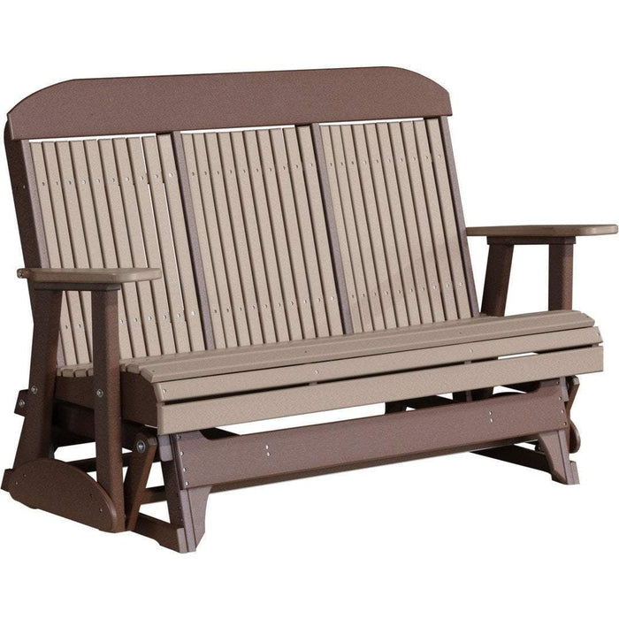 LuxCraft LuxCraft 5 ft. Recycled Plastic Highback Outdoor Glider Weather Wood On Chestnut Brown Highback Glider 5CPGWWCBR