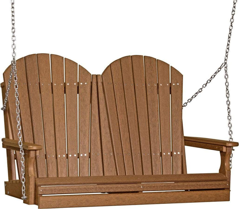 LuxCraft LuxCraft Adirondack 4ft. Recycled Plastic Porch Swing Antique Mahogany / Adirondack Porch Swing 4APSAMB