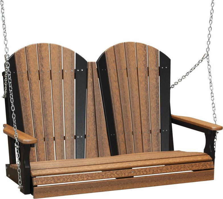 LuxCraft LuxCraft Adirondack 4ft. Recycled Plastic Porch Swing Antique Mahogany on Black / Adirondack Porch Swing 4APSAM