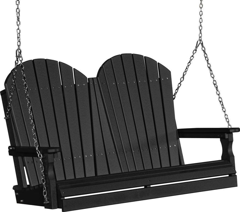 LuxCraft LuxCraft Adirondack 4ft. Recycled Plastic Porch Swing Black / Adirondack Porch Swing 4APSBK