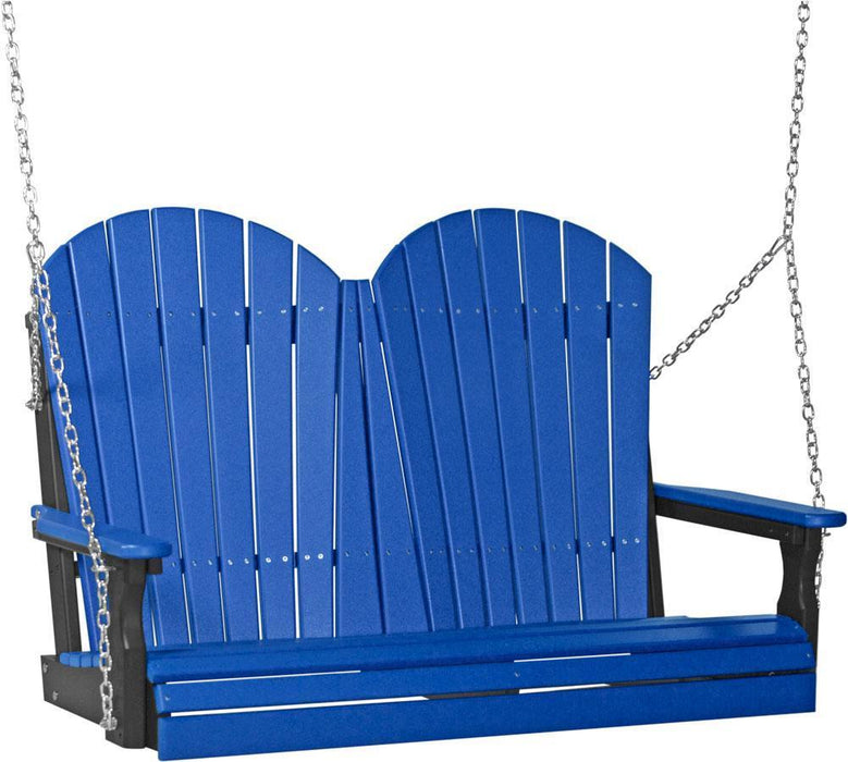 LuxCraft LuxCraft Adirondack 4ft. Recycled Plastic Porch Swing Blue on Black / Adirondack Porch Swing 4APSBB