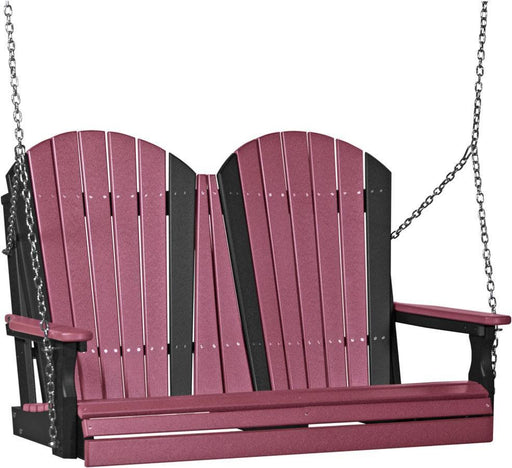 LuxCraft LuxCraft Adirondack 4ft. Recycled Plastic Porch Swing Cherrywood on Black / Adirondack Porch Swing 4APSCWB