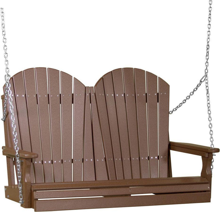 LuxCraft LuxCraft Adirondack 4ft. Recycled Plastic Porch Swing Chestnut Brown / Adirondack Porch Swing 4APSCBR