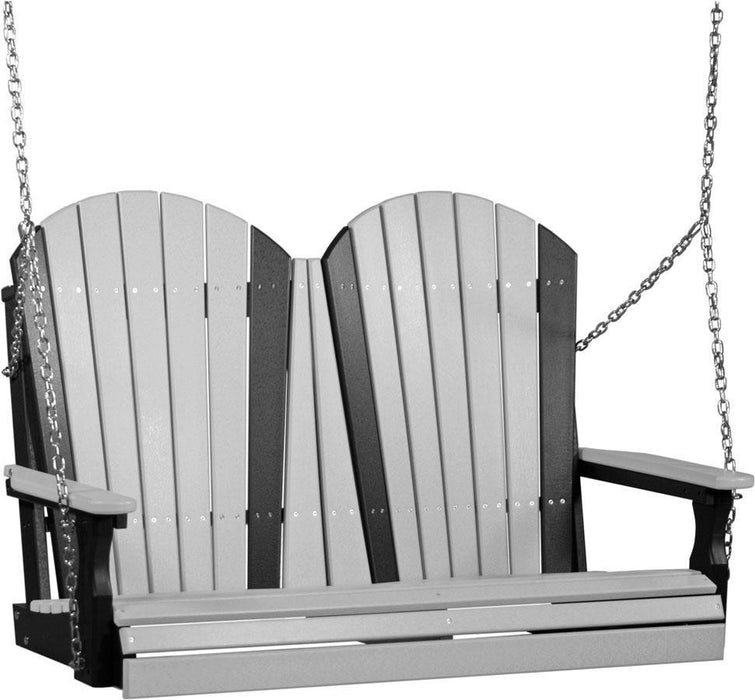 LuxCraft LuxCraft Adirondack 4ft. Recycled Plastic Porch Swing Dove Gray on Black / Adirondack Porch Swing 4APSDGB