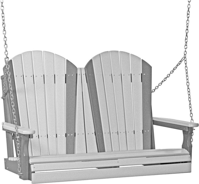 LuxCraft LuxCraft Adirondack 4ft. Recycled Plastic Porch Swing Dove Gray on Slate / Adirondack Porch Swing 4APSDGS