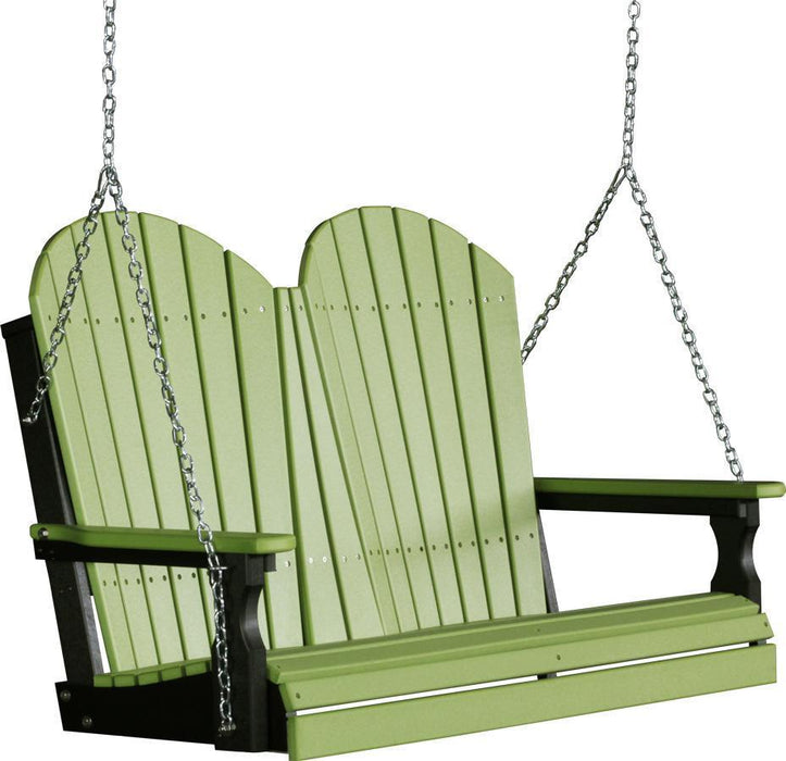 LuxCraft LuxCraft Adirondack 4ft. Recycled Plastic Porch Swing Lime Green on Black / Adirondack Porch Swing 4APSLGB