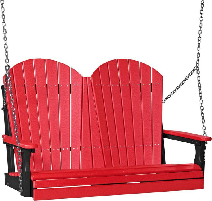 LuxCraft LuxCraft Adirondack 4ft. Recycled Plastic Porch Swing Red on Black / Adirondack Porch Swing 4APSRB