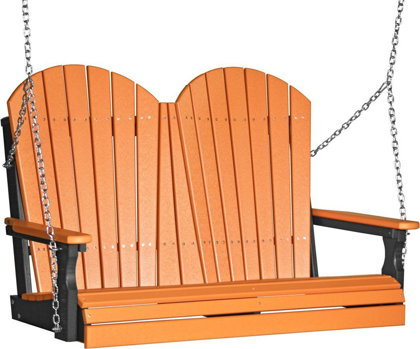LuxCraft LuxCraft Adirondack 4ft. Recycled Plastic Porch Swing Tangerine on Black / Adirondack Porch Swing 4APSTB