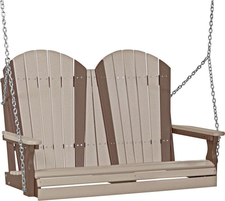LuxCraft LuxCraft Adirondack 4ft. Recycled Plastic Porch Swing Weather Wood on Chestnut Brown / Adirondack Porch Swing 4APSWWCBR