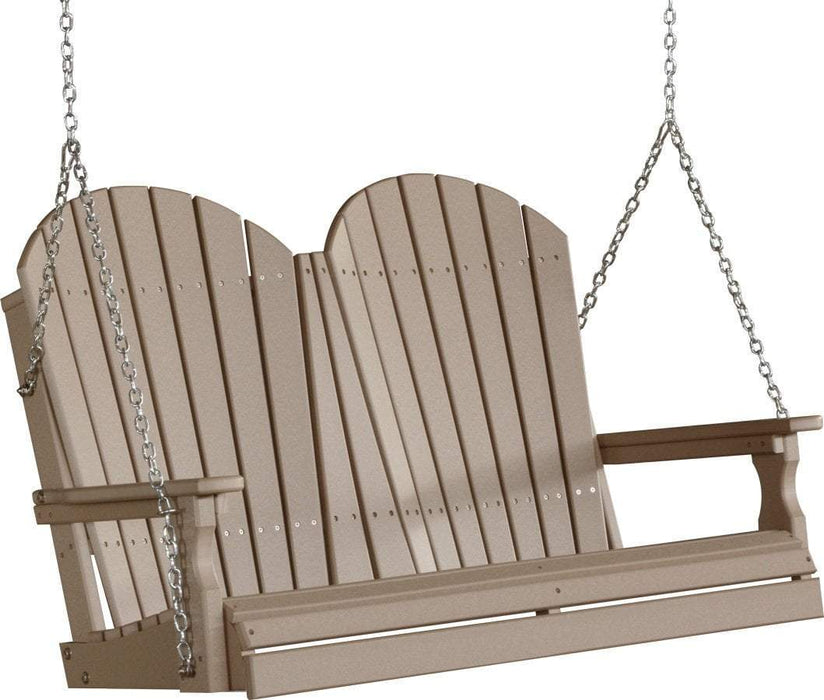 LuxCraft LuxCraft Adirondack 4ft. Recycled Plastic Porch Swing Weatherwood / Adirondack Porch Swing 4APSWW