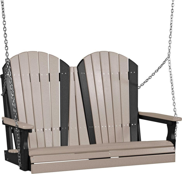 LuxCraft LuxCraft Adirondack 4ft. Recycled Plastic Porch Swing Weatherwood on Black / Adirondack Porch Swing 4APSWWB
