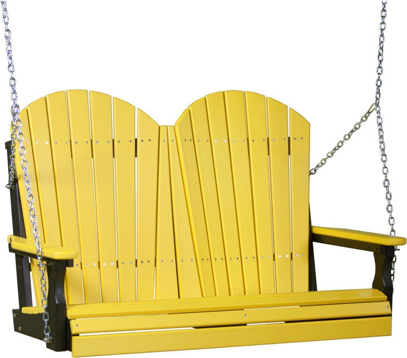 LuxCraft LuxCraft Adirondack 4ft. Recycled Plastic Porch Swing Yellow on Black / Adirondack Porch Swing 4APSYB